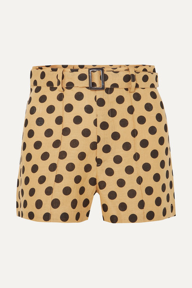 LISA MARIE FERNANDEZ | Lisa Marie Fernandez - Belted Polka-Dot Linen Shorts - Sand | Goxip