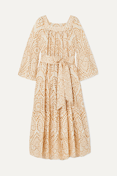 LISA MARIE FERNANDEZ | Lisa Marie Fernandez - Broderie Anglaise Cotton Maxi Dress - Neutral | Goxip