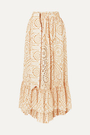 Lisa Marie Fernandez Nicole embroidered broderie anglaise cotton maxi skirt