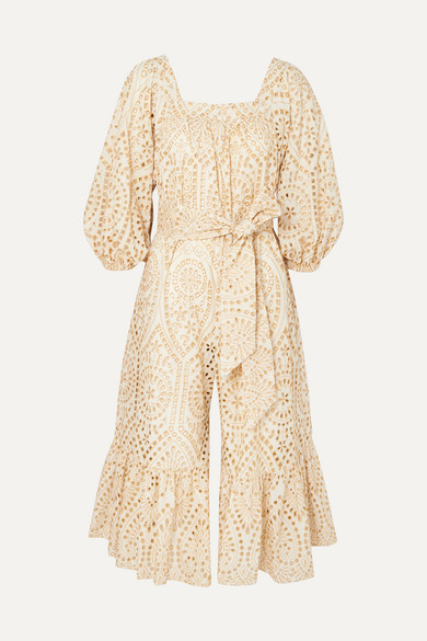 LISA MARIE FERNANDEZ | Lisa Marie Fernandez - Laure Broderie Anglaise Cotton Jumpsuit - Cream | Goxip