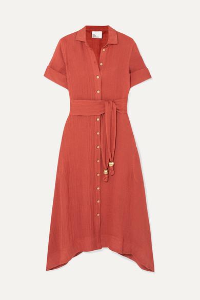 LISA MARIE FERNANDEZ | Lisa Marie Fernandez - Belted Linen-Blend Gauze Dress - Papaya | Goxip