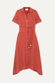 Lisa Marie Fernandez Belted linen-blend gauze dress