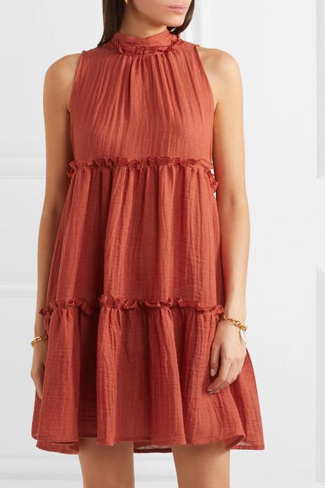 Erica ruffled tiered linen-blend mini dress