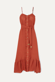 Lisa Marie Fernandez Ruffled tiered linen-blend gauze maxi dress