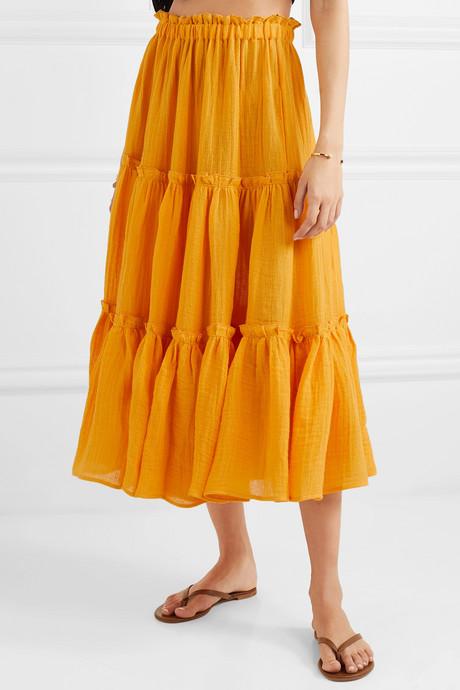 Tiered linen-blend gauze midi skirt