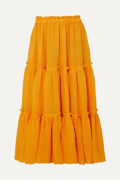LISA MARIE FERNANDEZ | Lisa Marie Fernandez - Tiered Linen-Blend Gauze Midi Skirt - Orange | Goxip