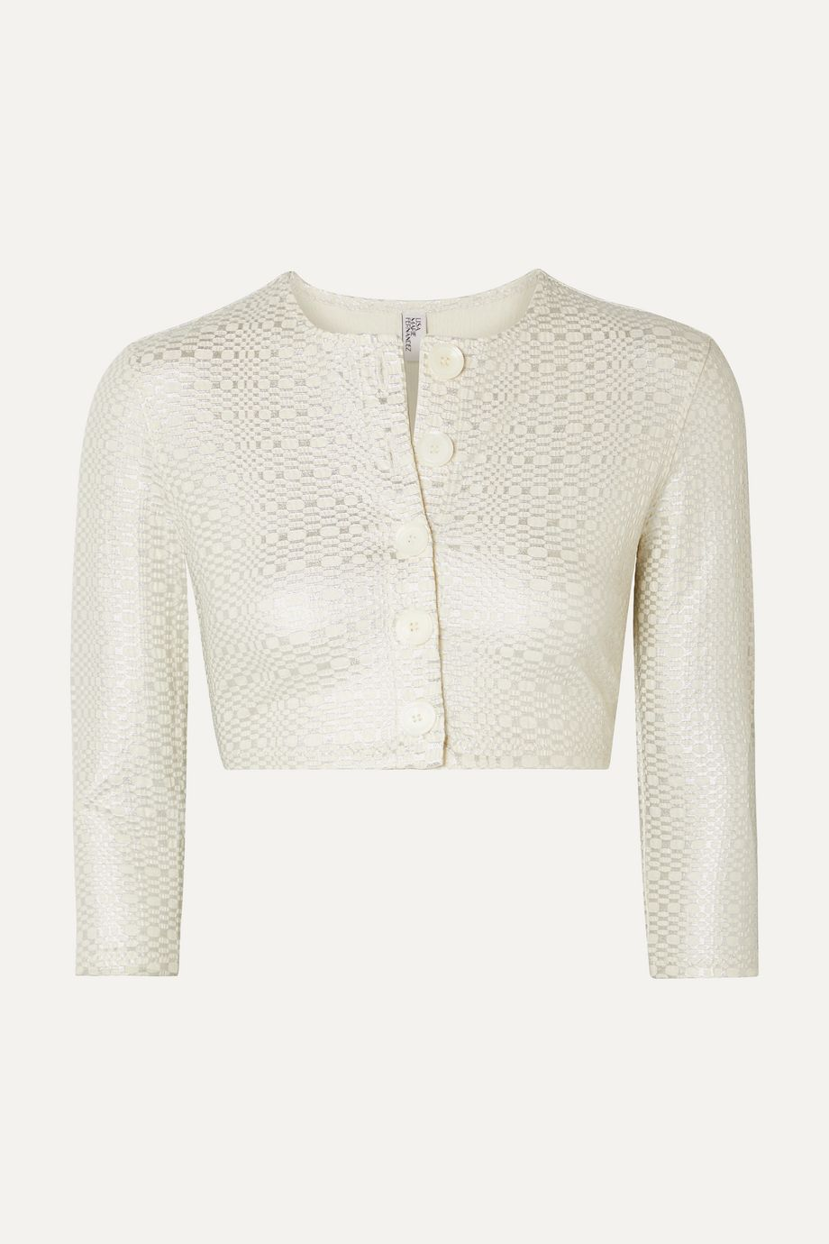Lisa Marie Fernandez Cropped metallic seersucker cardigan
