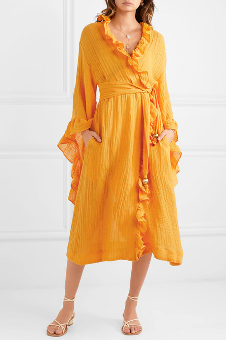 Anita ruffled linen-blend gauze wrap dress