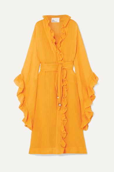 LISA MARIE FERNANDEZ | Lisa Marie Fernandez - Anita Ruffled Linen-Blend Gauze Wrap Dress - Orange | Goxip