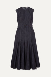 Ellen belted denim midi dress