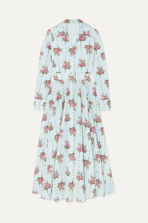 Emilia Wickstead Aurora belted floral-print Swiss-dot cotton-blend seersucker dress
