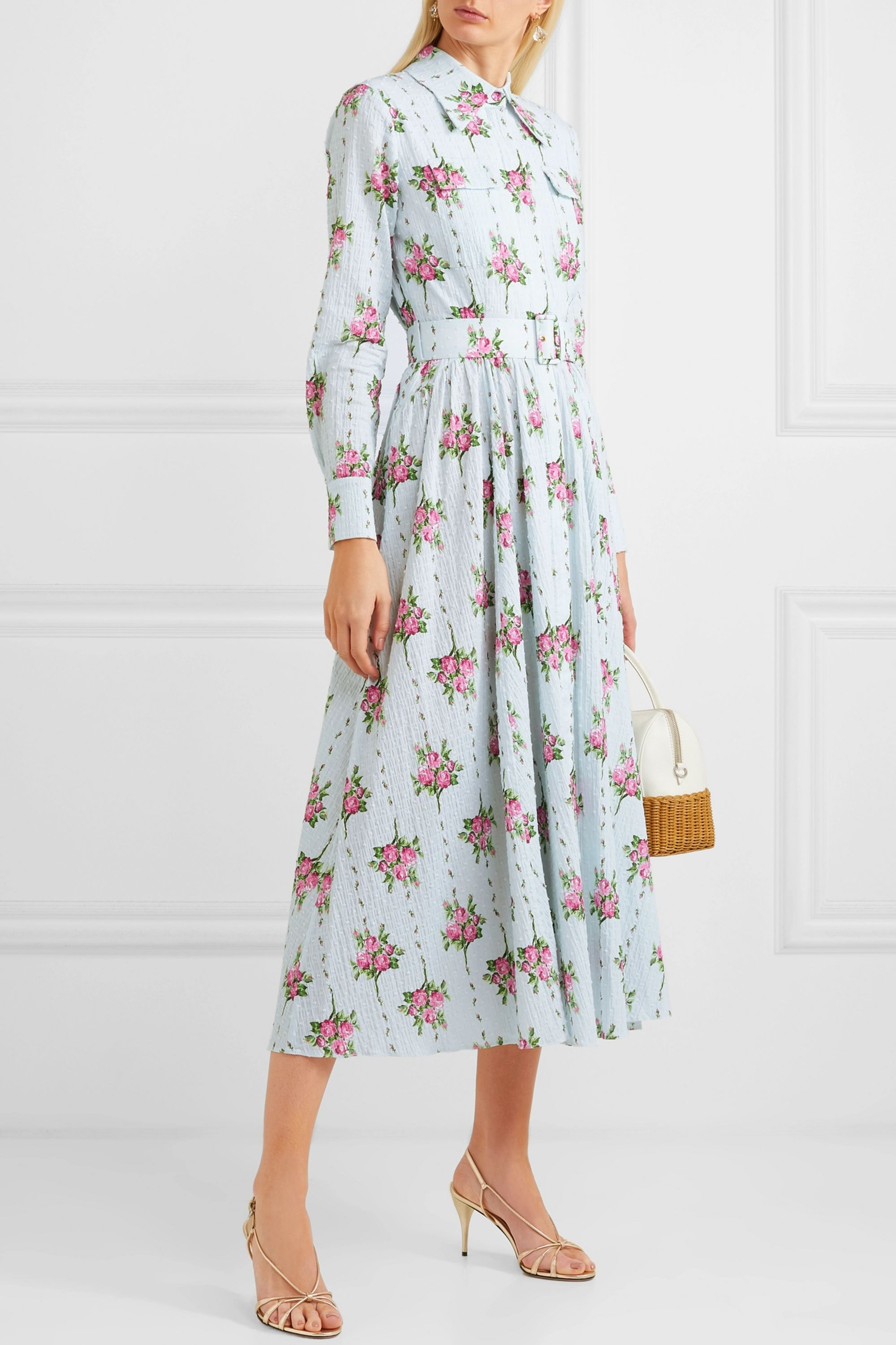 Aurora belted floral-print Swiss-dot cotton-blend seersucker dress by EMILIA WICKSTEAD, available on net-a-porter.com for $1127.5 Kate Middleton Dress Exact Product
