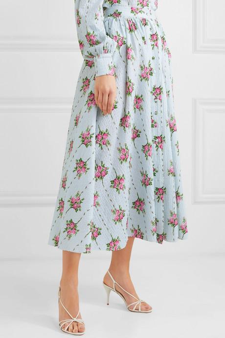 Floral-print Swiss-dot cotton-blend seersucker midi skirt