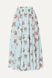 Floral-print Swiss-dot cotton-blend seersucker midi skirt