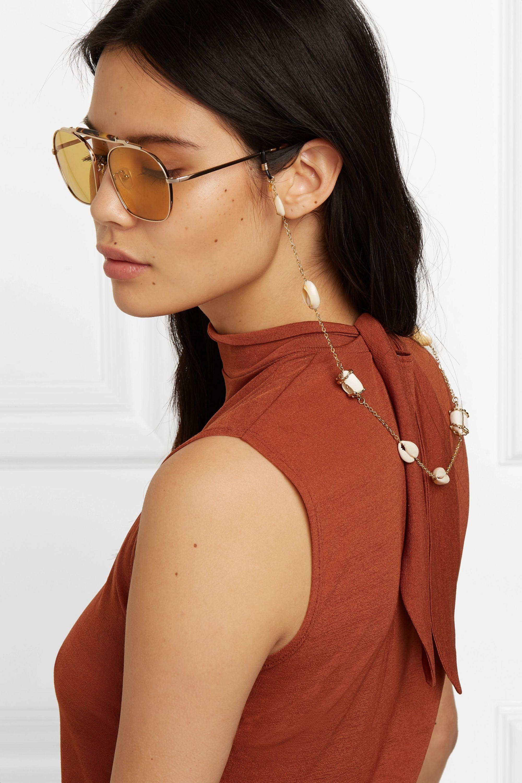 Rosantica Beatrix gold-tone and shell sunglasses chain
