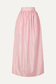 Rose pleated silk-taffeta maxi skirt
