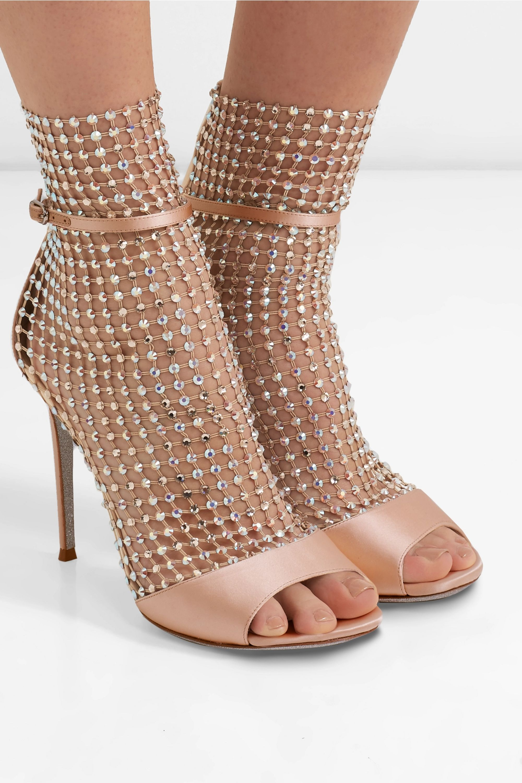 René Caovilla Galaxia 水晶缀饰网布缎布凉鞋