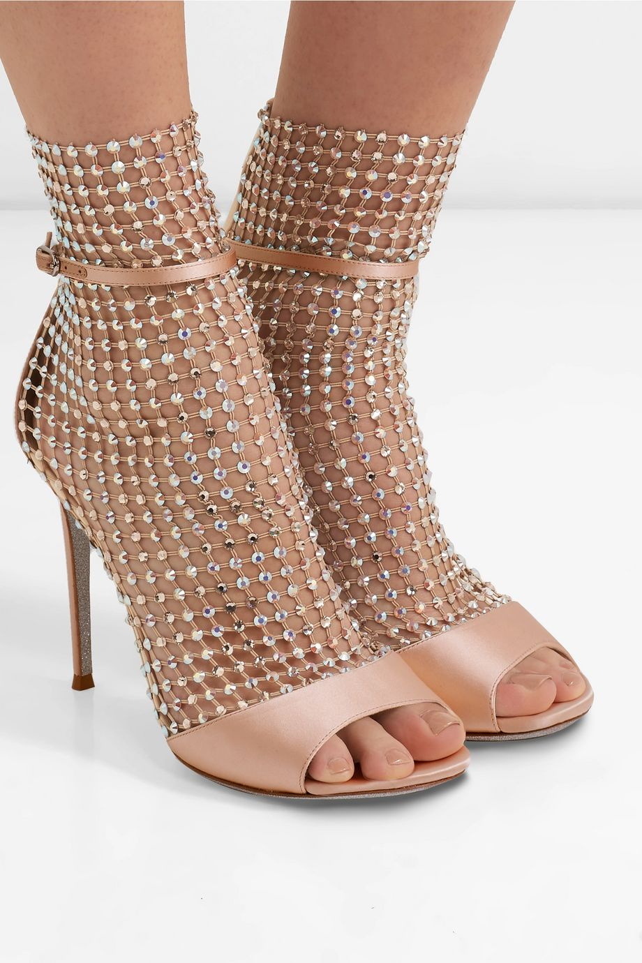 René Caovilla Galaxia crystal-embellished mesh and satin sandals