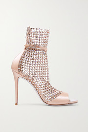 Galaxia crystal-embellished mesh and satin sandals