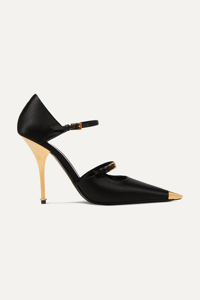 Tom Ford Two-strap Mary Jane Pumps With Pointed Metal Toe In Black