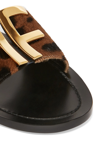 Tom Ford Slippers Logo-embellished leopard-print calf hair slides