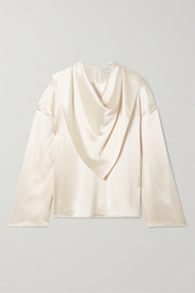 Deveaux Open-back draped hammered-satin blouse
