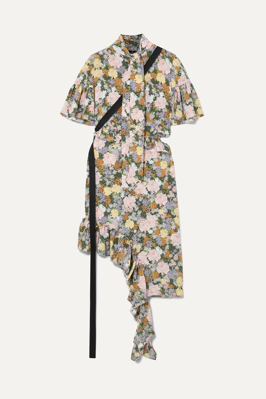Rokh Asymmetric ruffled floral-print silk-crepe dress