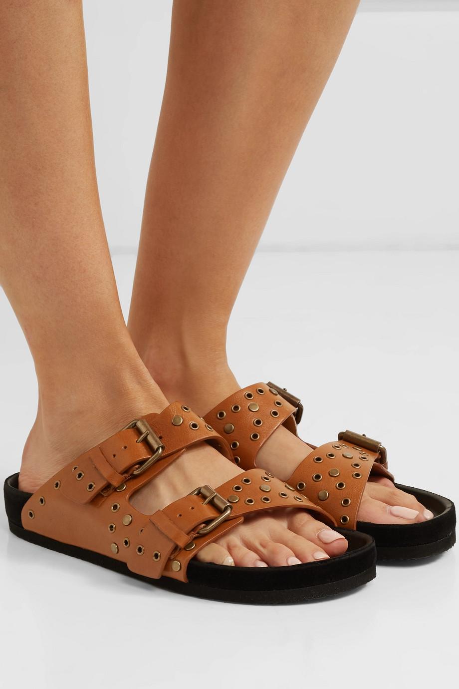 Isabel Marant Lennya embellished distressed leather slides