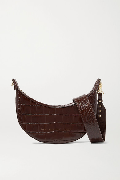 Croissant Glossed Croc Effect Leather Shoulder Bag by Chylak