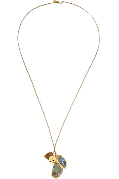 PIPPA SMALL | Pippa Small - 18-karat Gold, Labradorite And Cotton Necklace - one size | Goxip