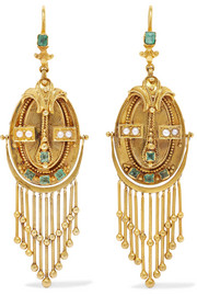 Victorian 18-karat gold, emerald and pearl earrings