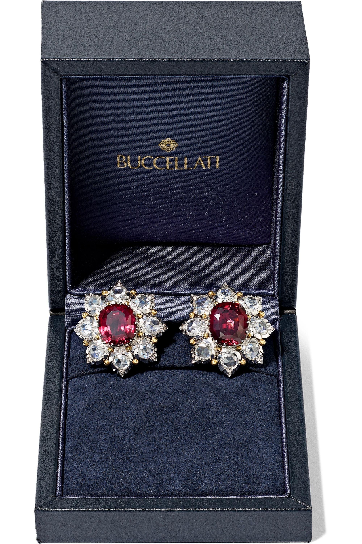 Buccellati 18-karat white and yellow gold, garnet and diamond earrings