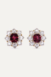 18-karat white and yellow gold, garnet and diamond earrings