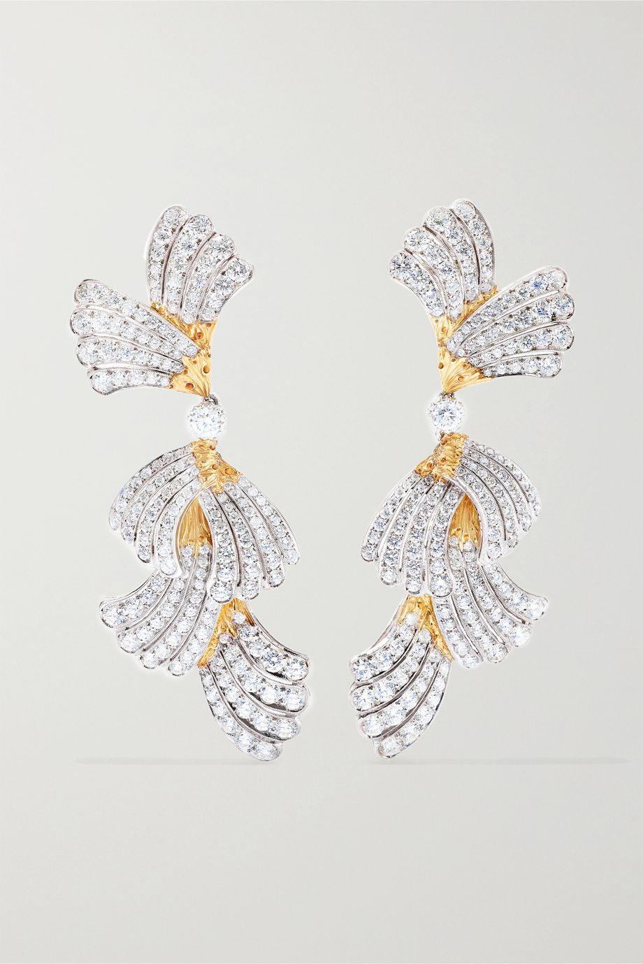 Buccellati 18-karat white and yellow gold diamond earrings