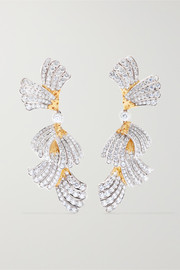 18-karat white and yellow gold diamond earrings