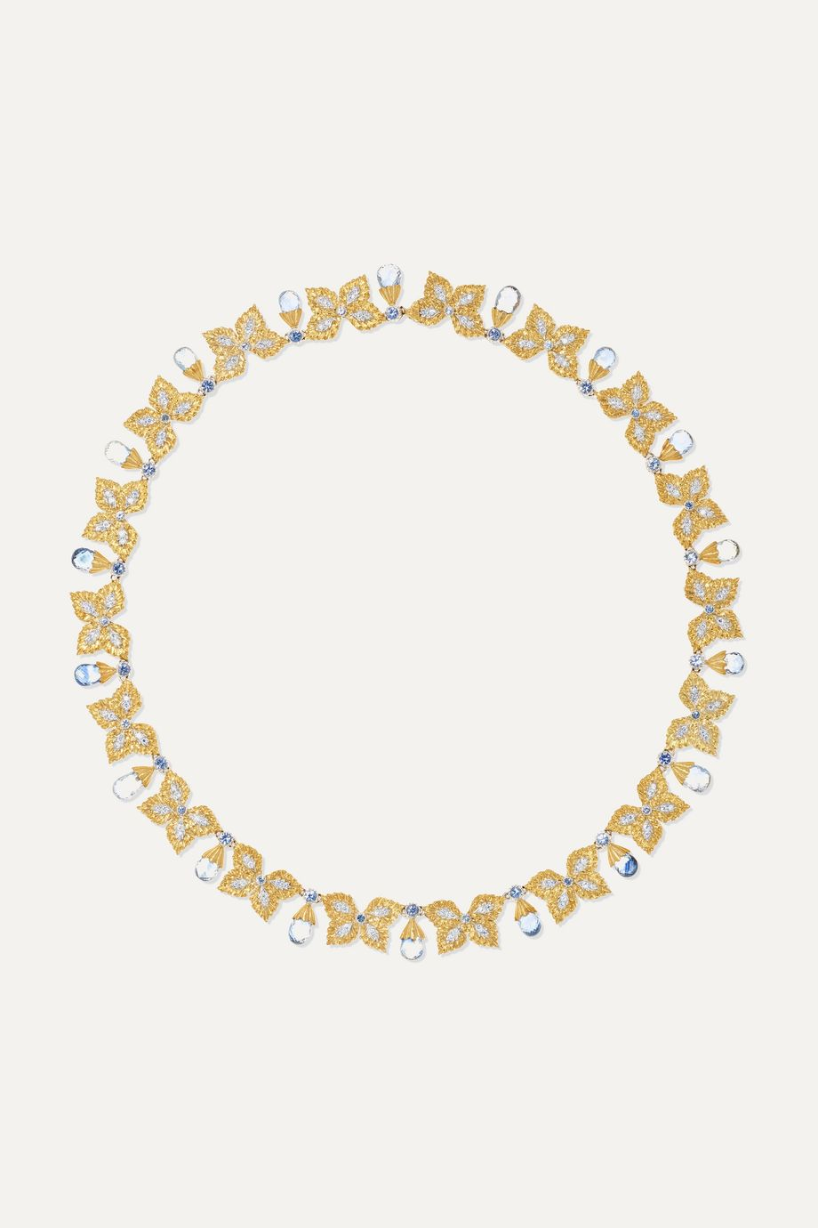 Buccellati 18-karat yellow and white gold, sapphire and diamond necklace