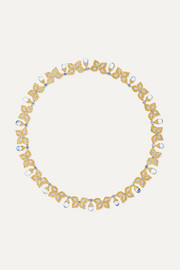 18-karat yellow and white gold, sapphire and diamond necklace