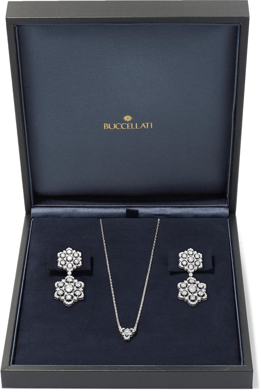 Buccellati 18-karat white gold diamond earring and necklace set