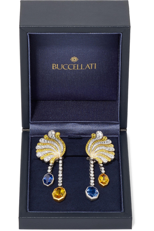Buccellati 18-karat yellow and white gold, diamond and sapphire earrings