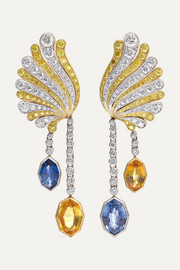 18-karat yellow and white gold, diamond and sapphire earrings