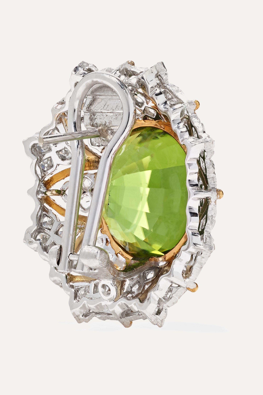 Buccellati 18-karat yellow and white gold, peridot and diamond earrings
