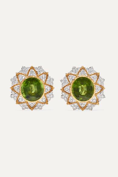 Buccellati 18 Karat Yellow And White Gold Peridot Diamond Earrings