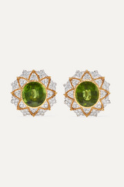18-karat yellow and white gold, peridot and diamond earrings