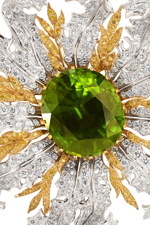 Buccellati 18-karat yellow and white gold, diamond and peridot brooch