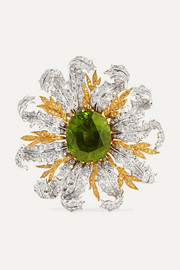 18-karat yellow and white gold, diamond and peridot brooch