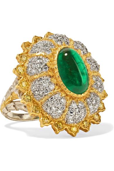 18 K 黄金、18 K 白金、钻石、祖母绿戒指 by Buccellati