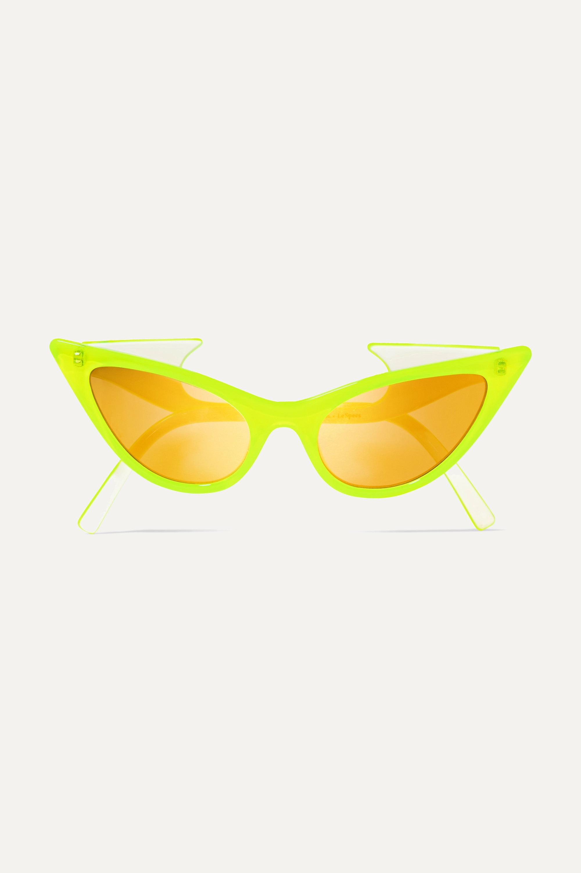 Le Specs + Adam Selman The Prowler cat-eye neon acetate mirrored sunglasses