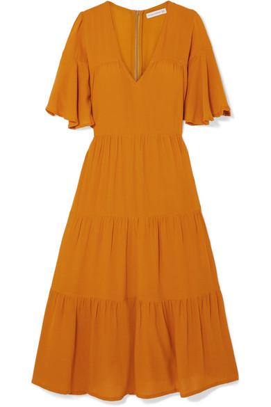 Melia Tiered Crepe Midi Dress by Faithfull The Brand