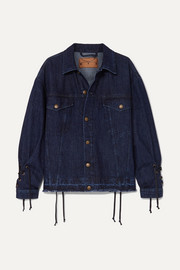 McQ Alexander McQueen Oversized lace-up distressed denim jacket