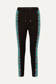 Double Block striped stretch-jersey track pants